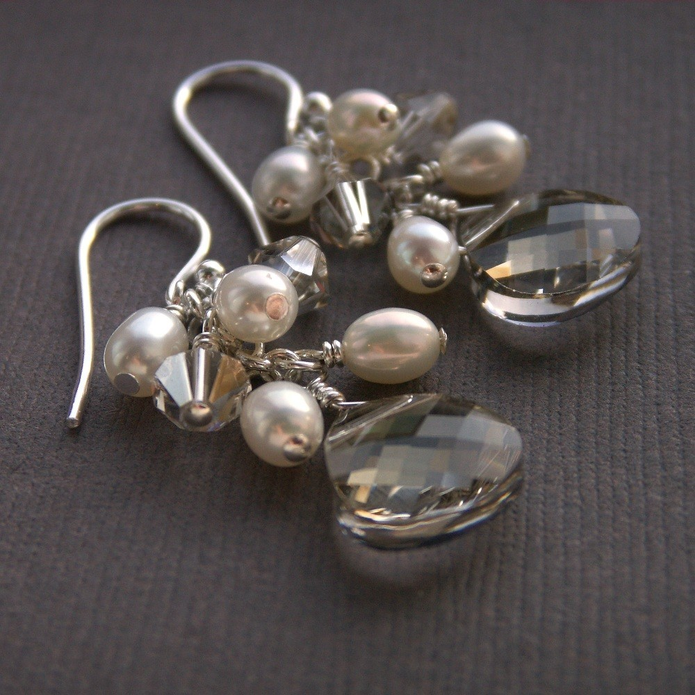 Jewelry, white, silver, Earrings, Bride, Custom, Bridesmaid, Pearls, Crystal, Swarovski, Pearl, K garner designs, Sterling