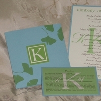 Stationery, blue, green, invitation, Invitations, Monogram, Band, Leaves, Belly, Ecru, Ginkgo