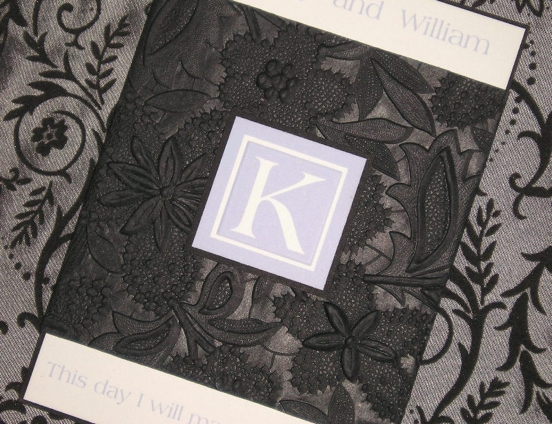 Stationery, purple, black, invitation, Invitations, Monogram, Custom wedding invitations by chrissy arnold, Embossed, Belly band, Lavendar, Periwinkkle