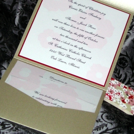 Stationery, pink, red, invitation, Invitations, Floral, Pocketfold, Custom wedding invitations by chrissy arnold, Metallic