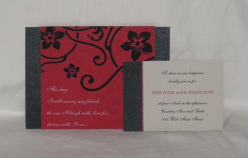Stationery, red, black, silver, invitation, Invitations, Band, Floral, Scroll, Shimmer, Belly