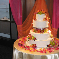 Cakes, orange, cake, Pinks, Orchid, Floral, Petals, Design, Yellows