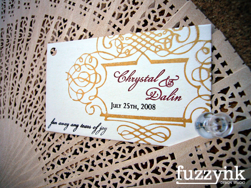 Favors & Gifts, red, gold, favor, Spanish, Fuzzynk design studio, Fan tag