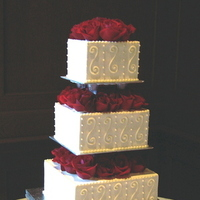 Cakes, ivory, red, cake, Square Wedding Cakes, Square, Roses, Wedding, Buttercream, Tiered, Graceful cake creations, Scrolls