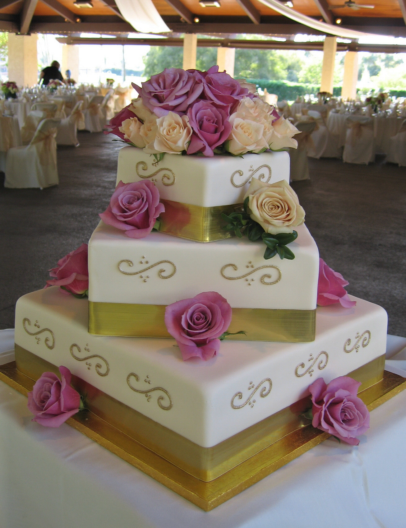 Cakes, ivory, gold, cake, Ribbon Wedding Cakes, Square Wedding Cakes, Square, Wedding, Fondant, Ribbon, Stacked, Graceful cake creations, Scrolls