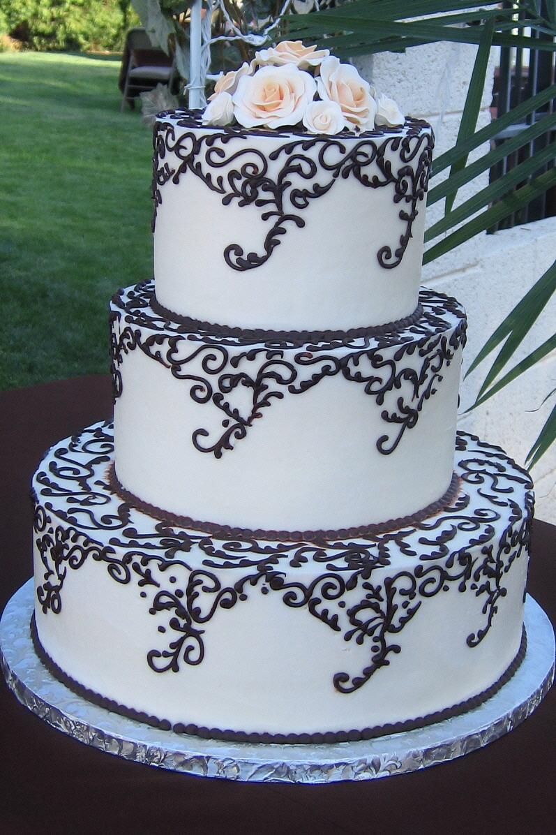Cakes, ivory, brown, cake, Round, Roses, Wedding, Chocolate, Buttercream, Stacked, Graceful cake creations, Scrolls, Gumpaste