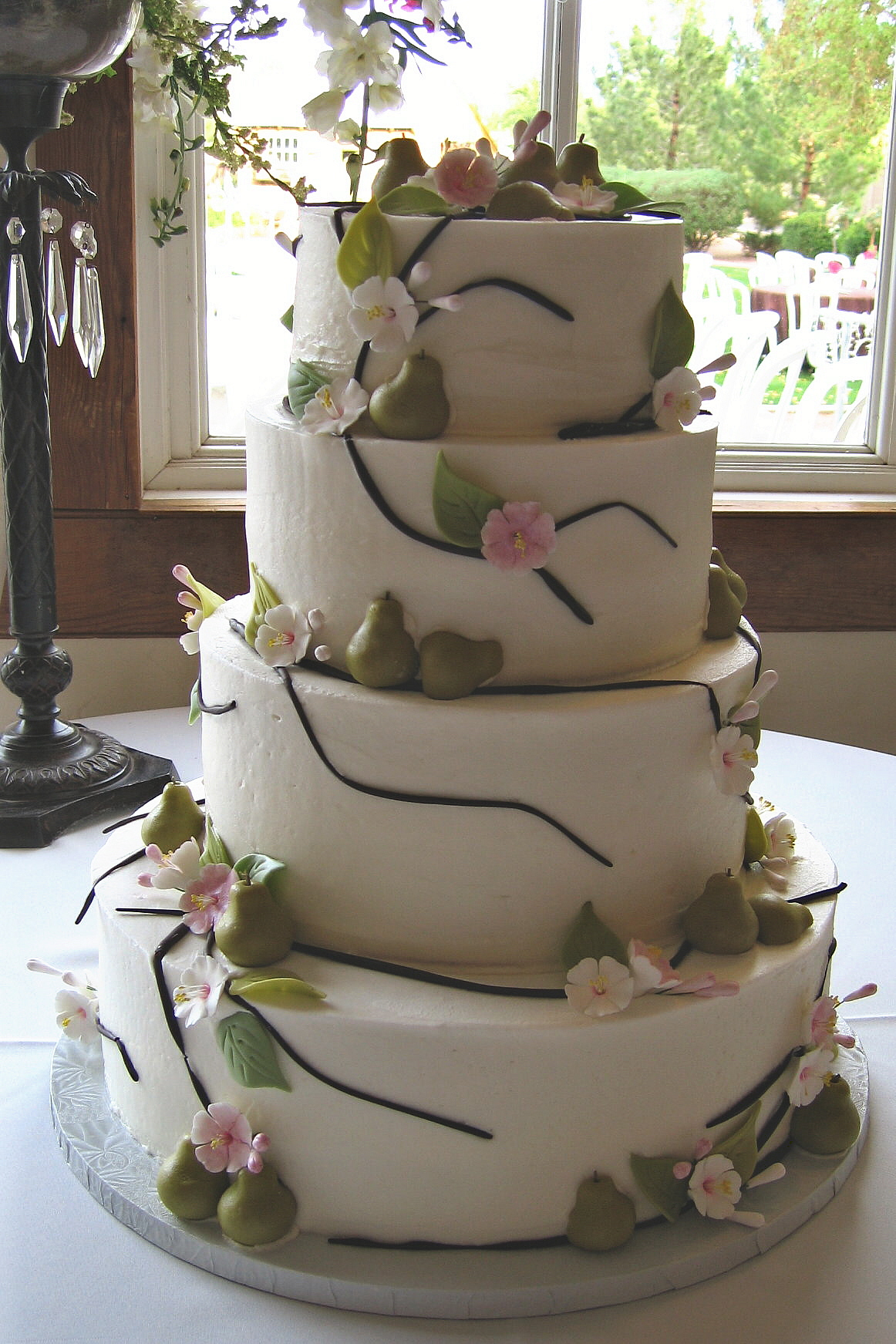 Cakes, pink, green, brown, cake, Round, Wedding, Cherry, Blossoms, Stacked, Graceful cake creations, Pears