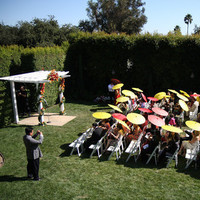 Ceremony, Flowers & Decor, yellow, red, gold, Ceremony Flowers, Flowers, Umbrellas, Parasols