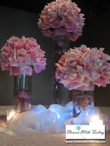 Wedding centerpiece trio with led lights panama rosesby