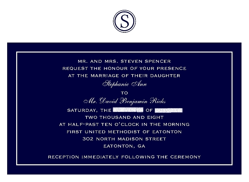 Stationery, white, blue, invitation, Invitations, Monogram, Custom, Navy, Layered