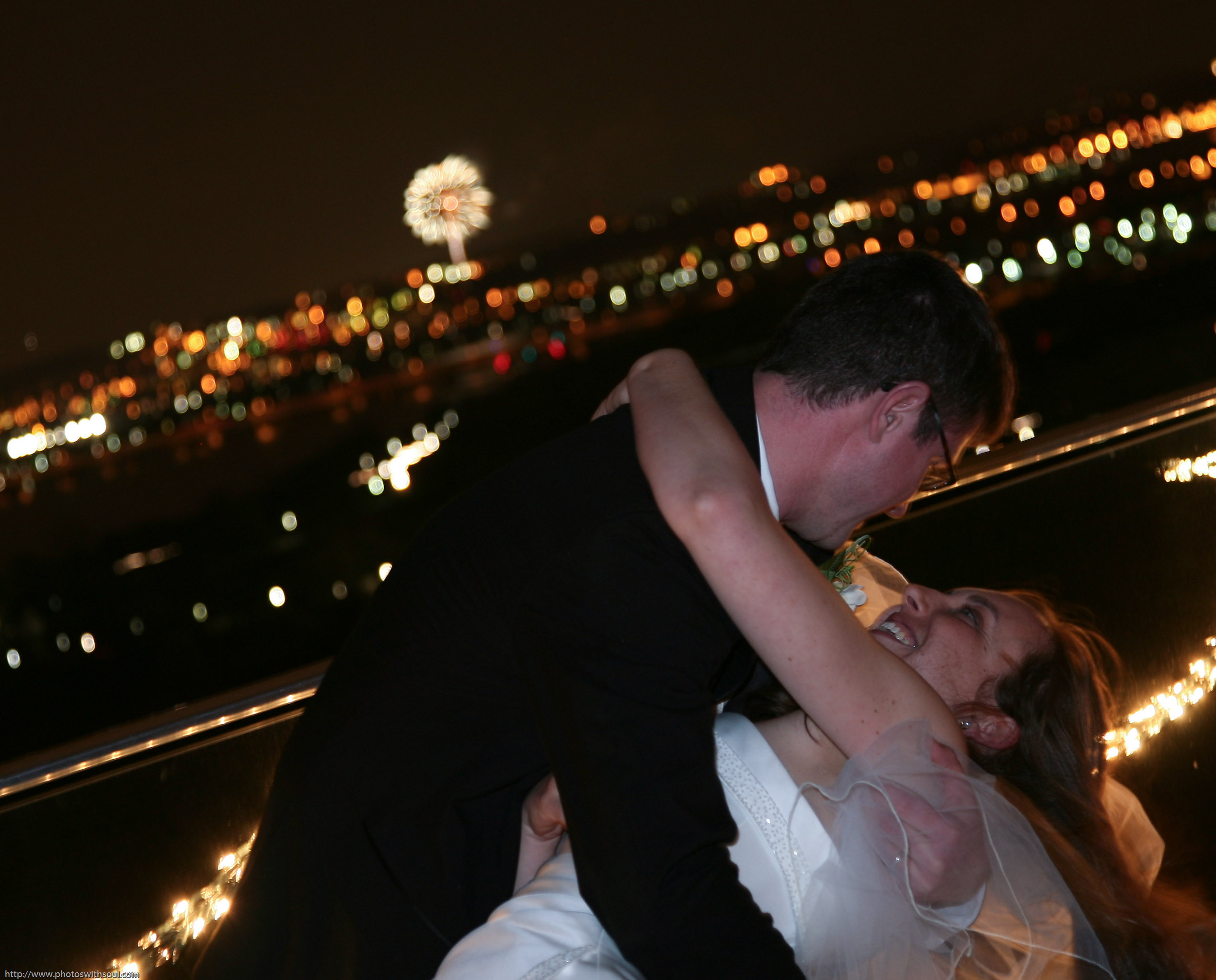 Reception, Flowers & Decor, Bride, Groom, Kiss, Fireworks
