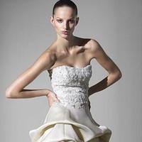 Wedding Dresses, Lace Wedding Dresses, Fashion, dress, Gown, Lace, Strapless, Strapless Wedding Dresses, Princess, Ball, Natural, Silk, Bolero, Monique lhuillier, Waist, Organiza, Silk Wedding Dresses