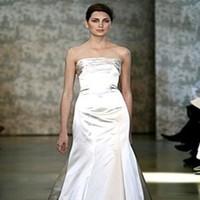 Wedding Dresses, A-line Wedding Dresses, Fashion, dress, Strapless, Strapless Wedding Dresses, A-line, Princess, Satin, Monique lhuillier, Dutchess, satin wedding dresses