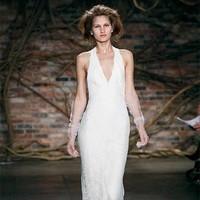 Wedding Dresses, Lace Wedding Dresses, Fashion, dress, Lace, Halter, Princess, Sheath, Embroidery, Monique lhuillier, halter wedding dresses, Sheath Wedding Dresses