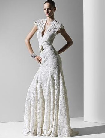 dress, Lace, V-neck, Sheath, Sleeves, Monique lhuillier, Natural, Waist, Alencon, Cap, Fashion, Wedding Dresses, V-neck Wedding Dresses, Lace Wedding Dresses, Sheath Wedding Dresses