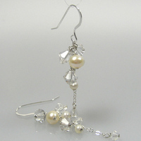 Jewelry, Earrings, And, Crystal, Cascade, Pearl, Amys bridal accessories