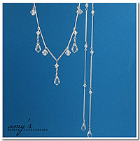 Necklace, With, Drop, Tails, Amys bridal accessories, Lariat