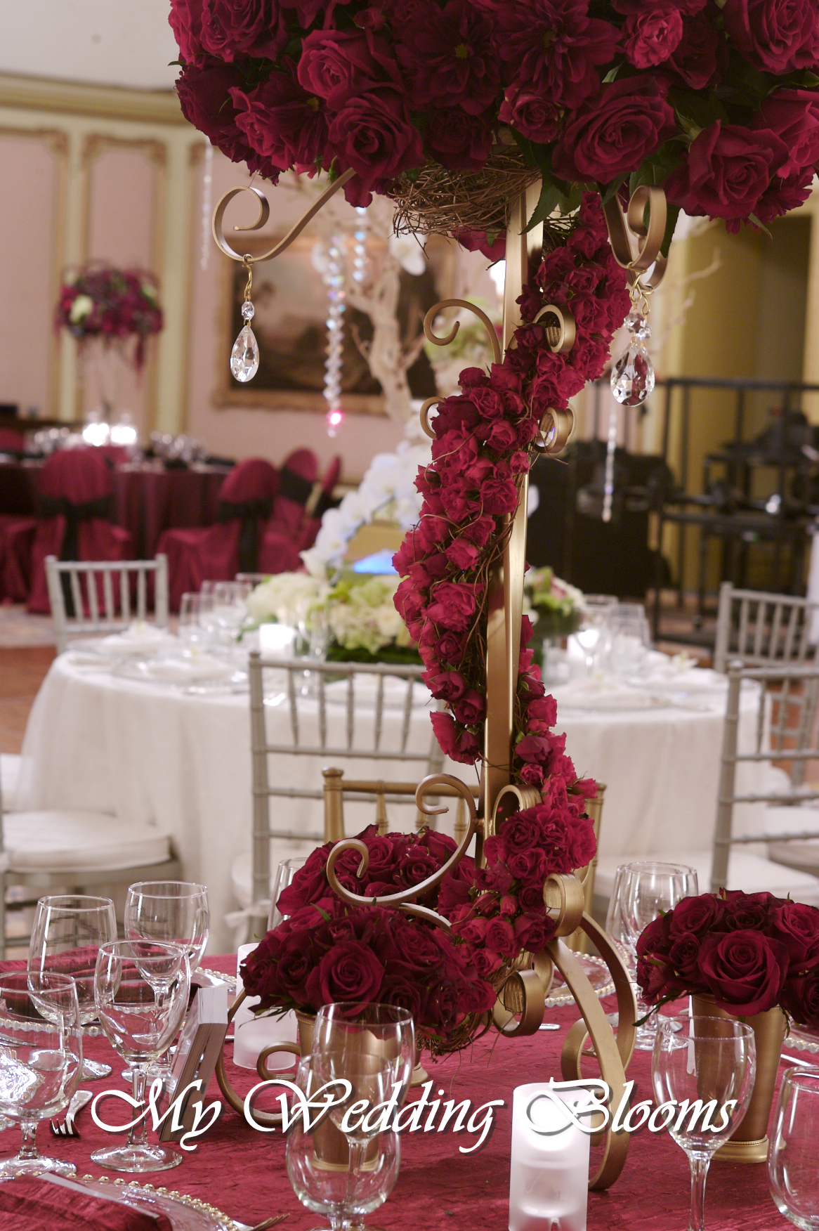 Tall red centerpiece detailsvendors my wedding blooms