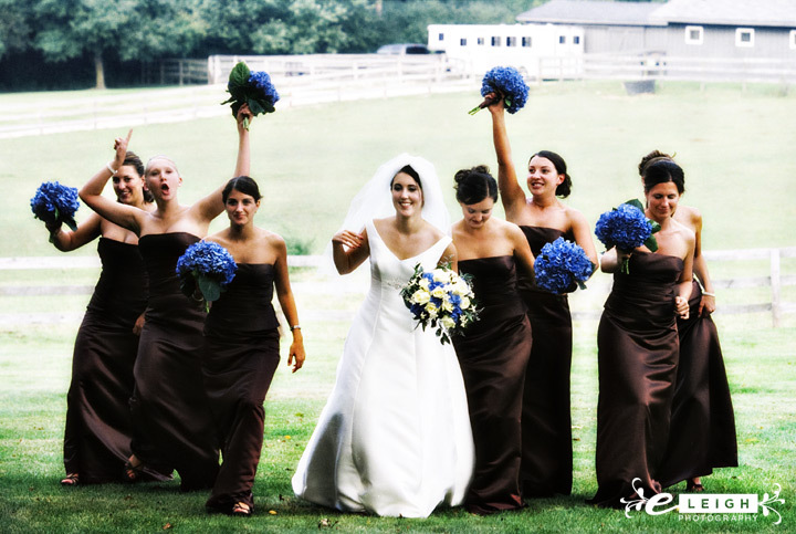 Flowers & Decor, Bridesmaids, Bridesmaids Dresses, Fashion, blue, brown, Bridesmaid Bouquets, Flowers, Hydrangea, E leigh photography, Flower Wedding Dresses