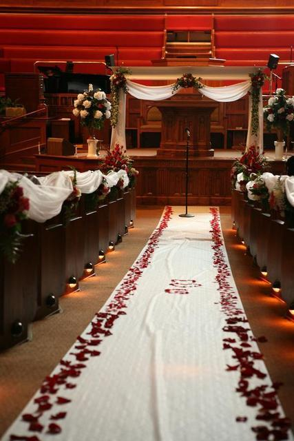 Ceremony, Flowers & Decor, white, red, Church, Petals, Decorations