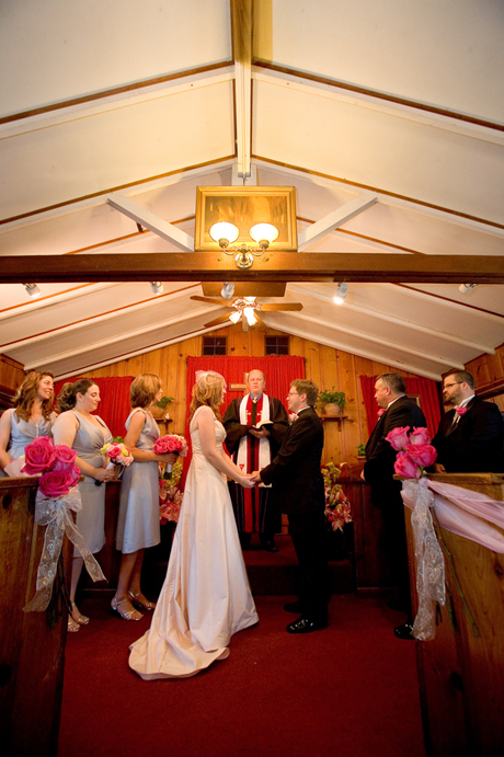 Ceremony, Flowers & Decor, Tealight weddings events, Little brown church