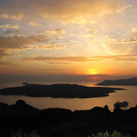 Sunset, Beautiful, In, Santorini