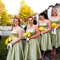 Ceremony, Flowers & Decor, Bridesmaids, Bridesmaids Dresses, Fashion, yellow, green, Wedding, Party, Sash, Tea, Dresses, Length, Levkoff, Bill, Tea Length Wedding Dresses