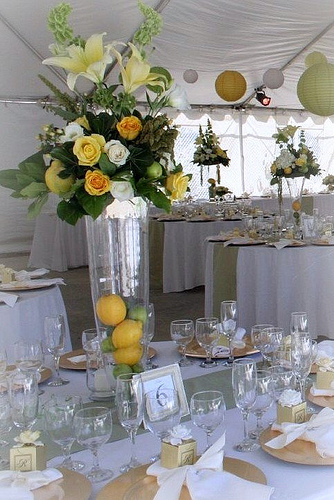 Reception, Flowers & Decor, green, Flowers, Tent, Lanterns, Lemon, Apple