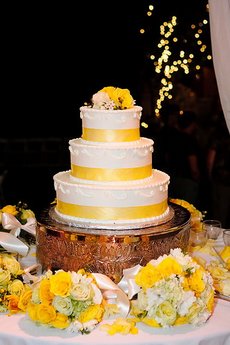 Cakes, yellow, cake, Ribbon Wedding Cakes, Roses, Ribbon, Cream, Lemon, Butter