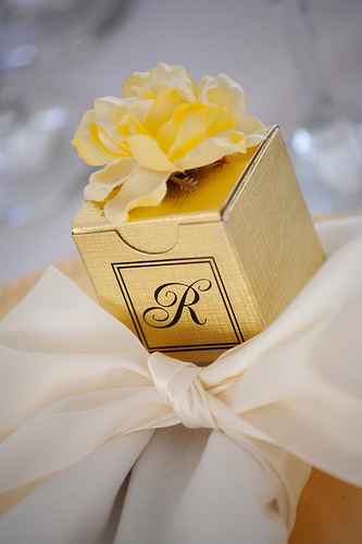 Favors & Gifts, gold, Favors, Monogram, Gift, Box, Lemon