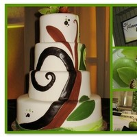 Cakes, green, cake, Monogrammed Wedding Cakes, Monogram, Orchids, Apple, A flair for affairs - weddings events