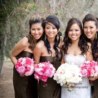 Flowers & Decor, Bridesmaids, Bridesmaids Dresses, Fashion, pink, brown, Bridesmaid Bouquets, Flowers, Bouquets, Flower Wedding Dresses