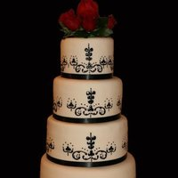 Cakes, red, black, cake, Rose, Damask