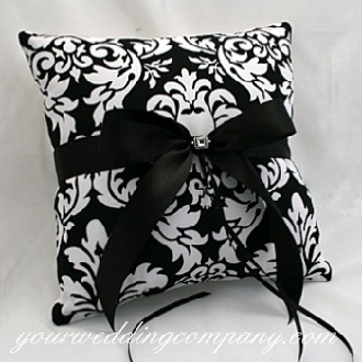 Ceremony, Flowers & Decor, black, Pillow, Damask