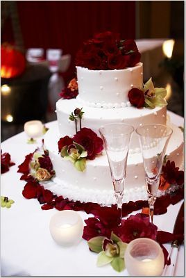 Flowers & Decor, Cakes, red, cake, Flowers