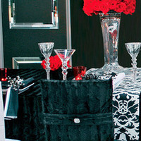 Flowers & Decor, red, black, Flowers, Rose, Damask