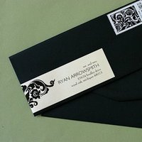 Stationery, black, Invitations, Damask