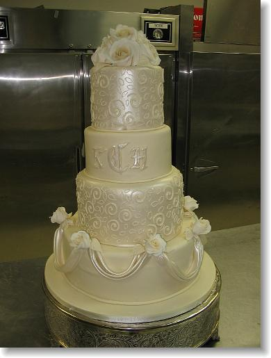 Cakes, cake, Classic Wedding Cakes, Monogrammed Wedding Cakes, Wedding, Simon lee bakery