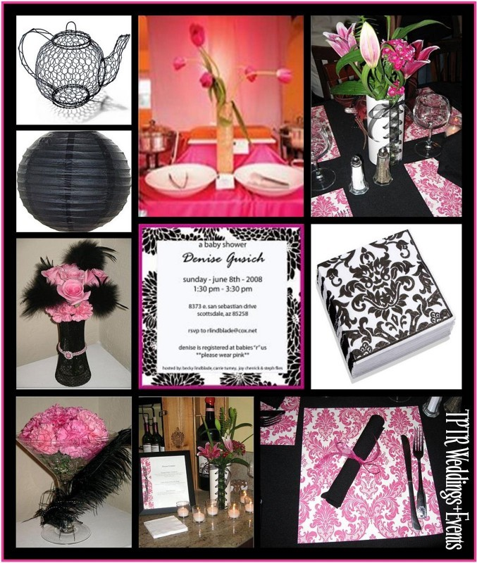 Inspiration, white, pink, black, Board, Damask