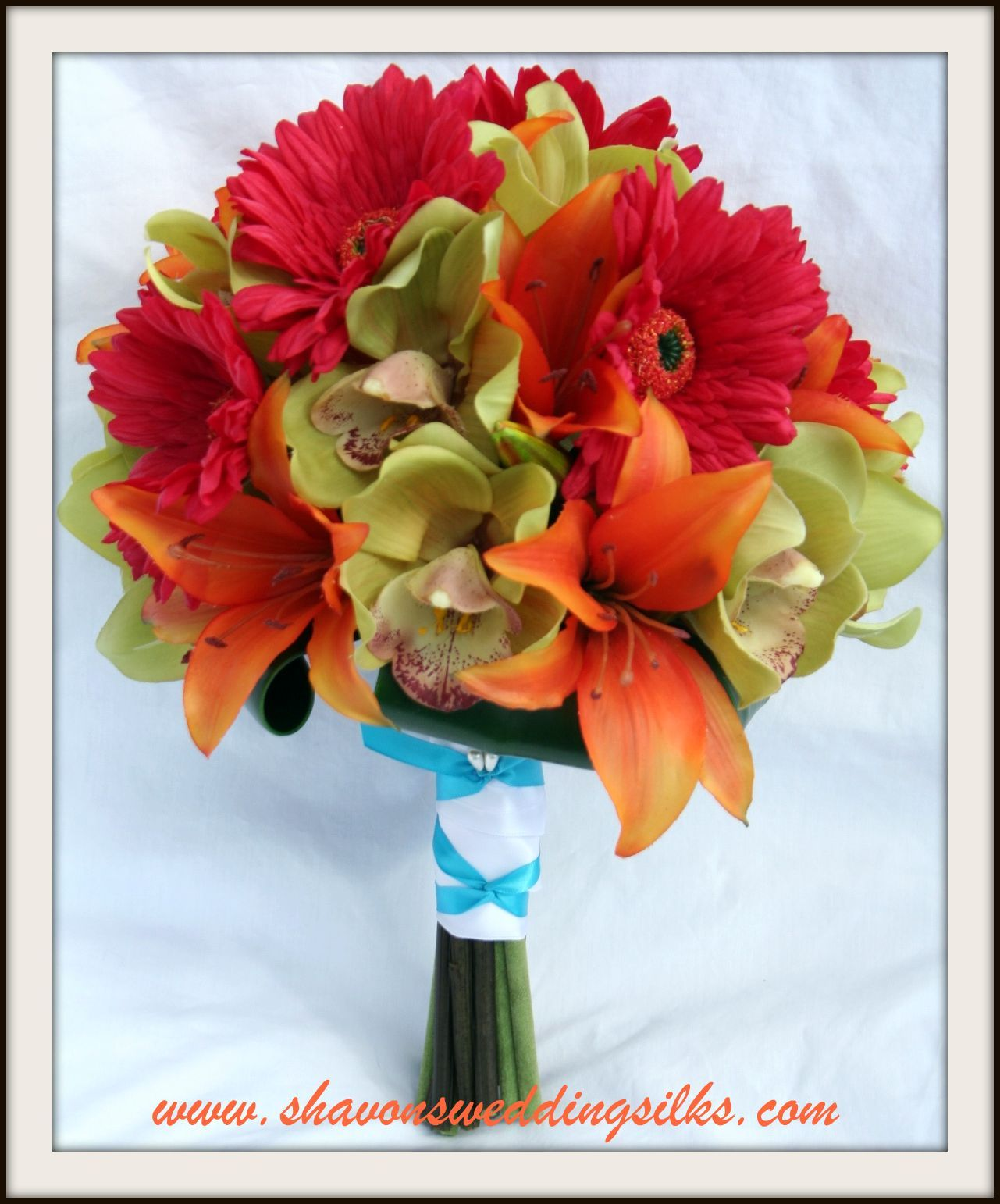 Flowers & Decor, orange, pink, green, Flowers, Wedding, Tropical, Lilies, Bridal, Orchids, Daisies, Gerbera, Shavons wedding silks