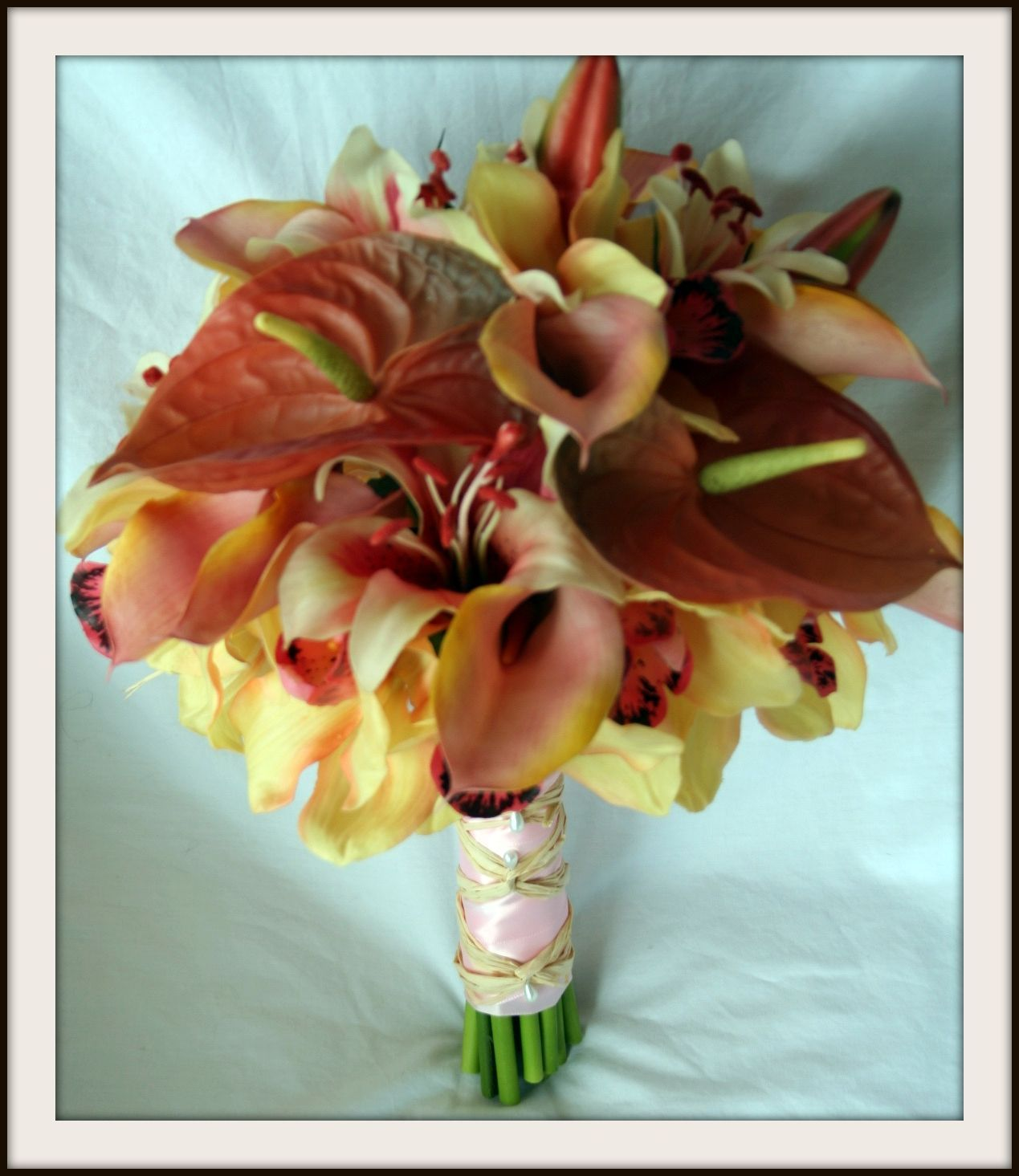 Flowers & Decor, yellow, pink, brown, Bride Bouquets, Flowers, Bouquet, Calla, Lilies, Peach, Orchids, Hand, Tied, Anthurium, Shavons wedding silks