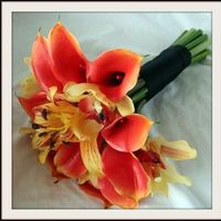 Flowers & Decor, yellow, orange, Bride Bouquets, Bride, Flowers, Bouquet, Calla, Lilies, Orchids, Lily, Cymbidium, Natural, Mango, Touch, Shavons wedding silks, Oriental