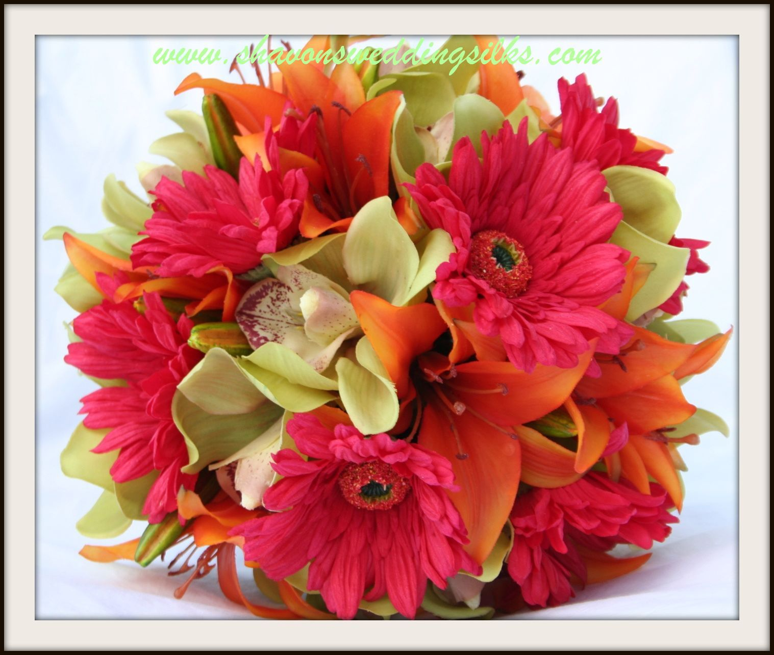 Flowers & Decor, orange, pink, green, Bride Bouquets, Flowers, Bouquet, Wedding, Lilies, Orchids, Dark, Daisies, Natural, Hot, Gerbera, Touch, Shavons wedding silks