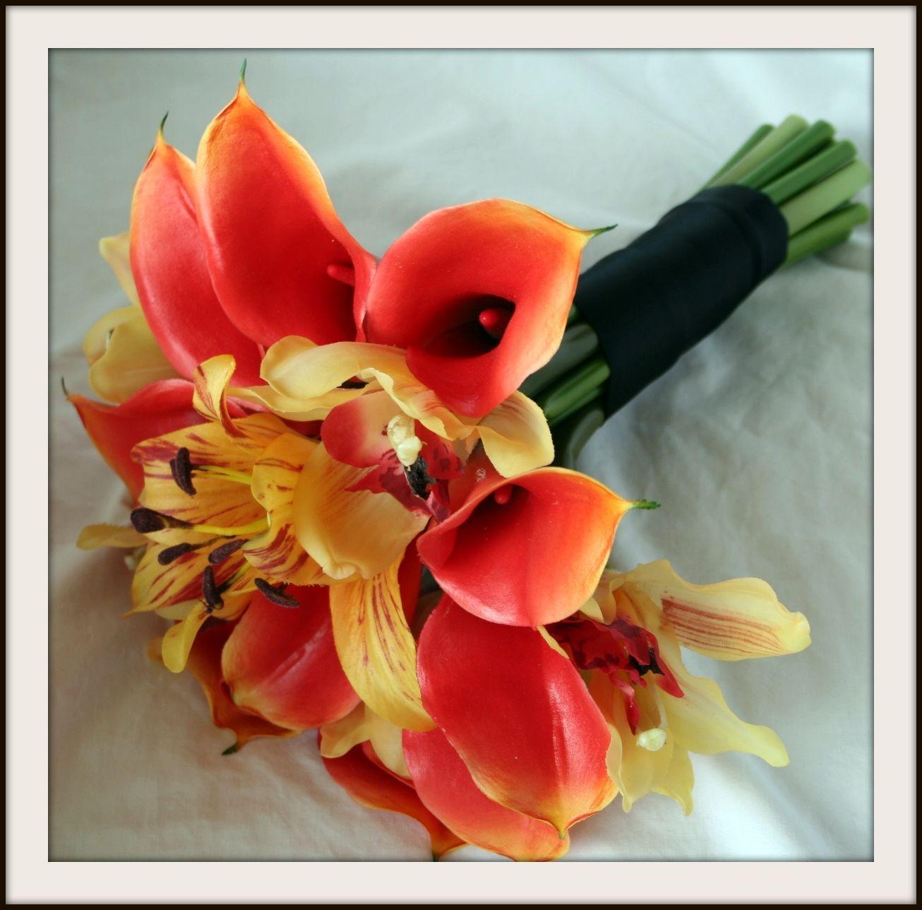 Flowers & Decor, yellow, orange, Bride Bouquets, Bride, Flowers, Bouquet, Calla, Lilies, Orchids, Lily, Cymbidium, Natural, Mango, Touch, Shavons wedding silks, Oriental