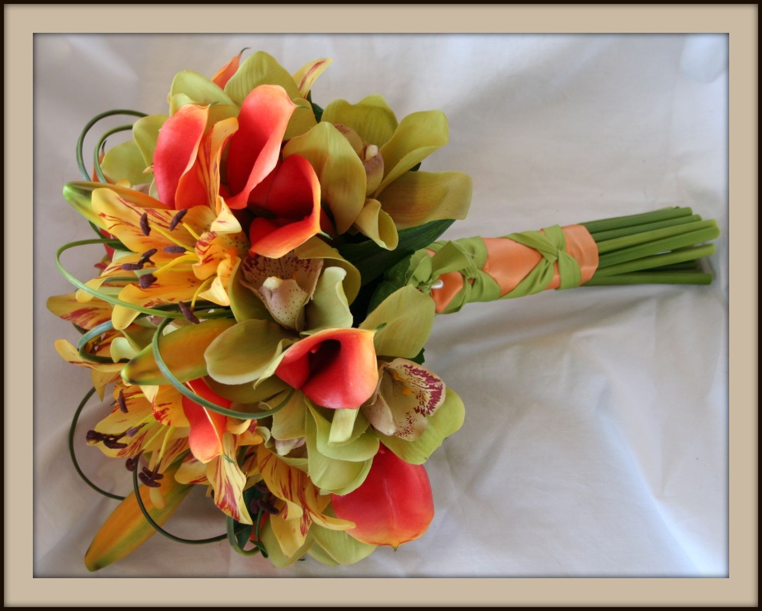 Flowers & Decor, yellow, orange, green, Bride Bouquets, Flowers, Bouquet, Tropical, Calla, Lilies, Grass, Orchids, Colors, Bright, Lily, Shavons wedding silks, Bear