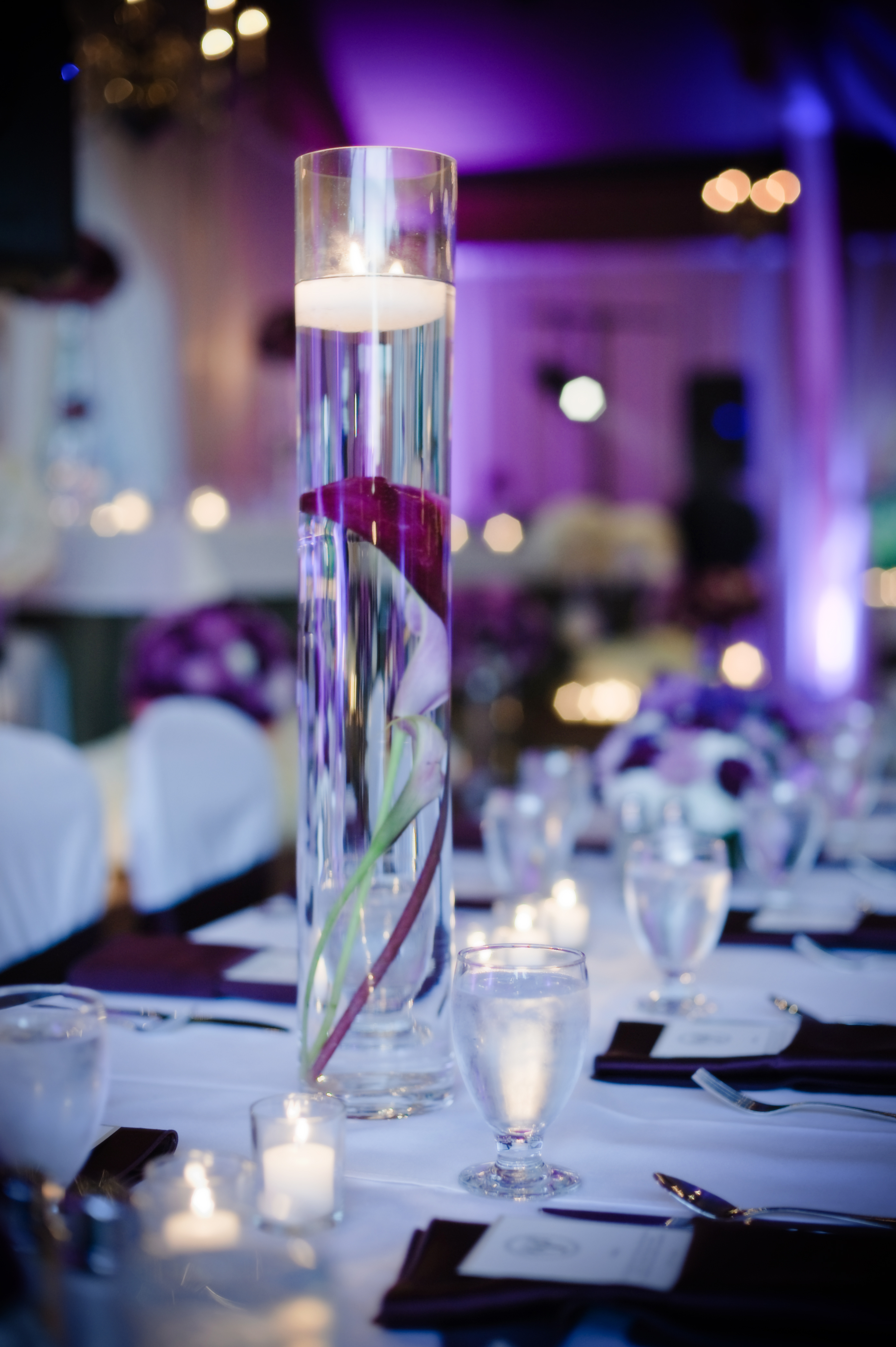 Reception, Flowers & Decor, purple, Flowers, Candle