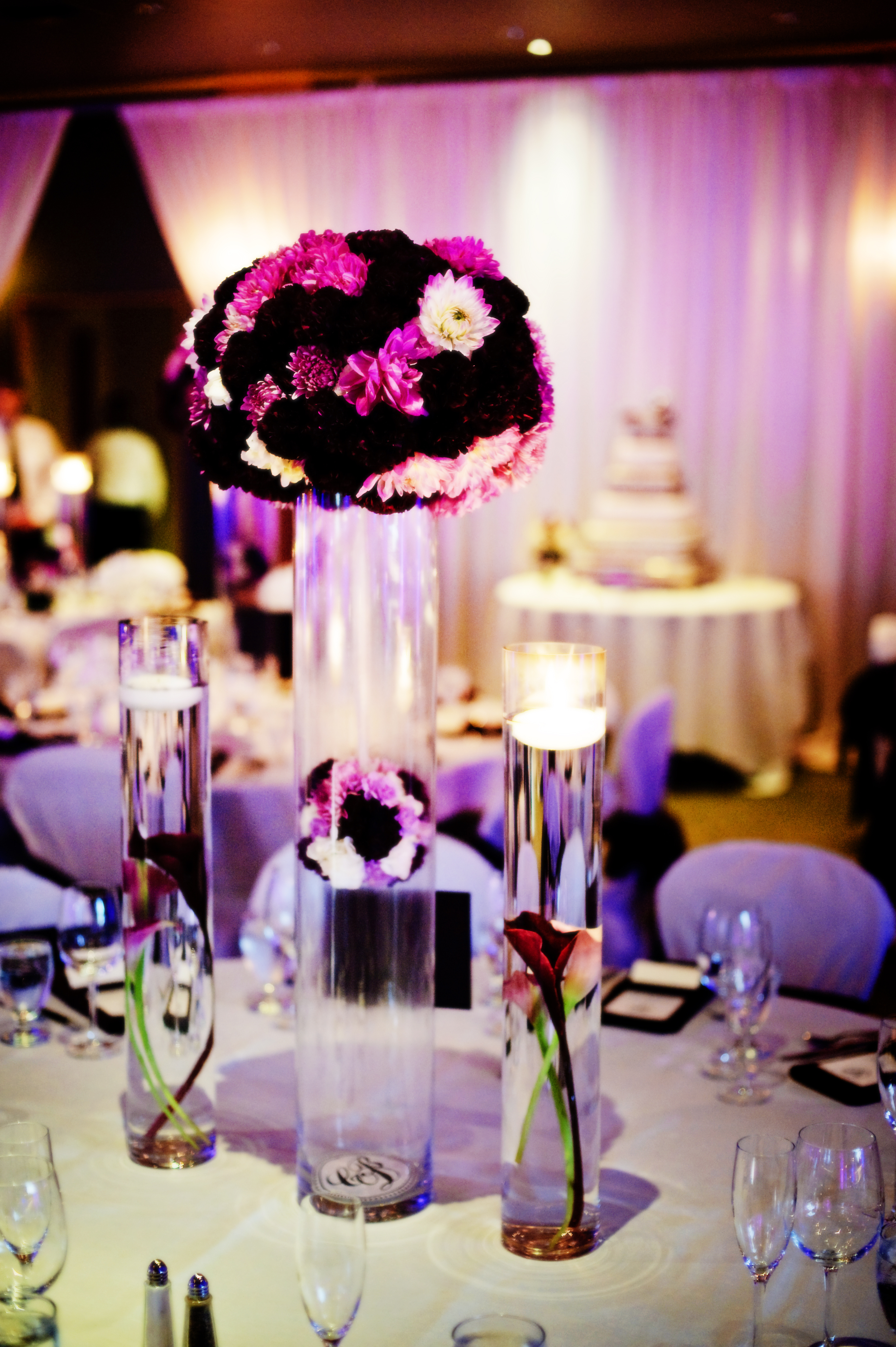 Reception, Flowers & Decor, purple, Centerpieces, Flowers, Centerpiece