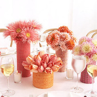 yellow, orange, pink, Centerpieces, Spring Wedding Flowers & Decor