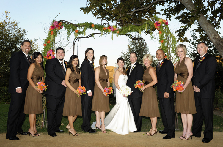 Ceremony, Flowers & Decor, orange, pink, brown, Ceremony Flowers, Bridesmaid Bouquets, Flowers, Bridesmaid