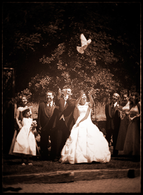Bride, Groom, Sepia, Celebration, Doves, Kevin lozaw photography